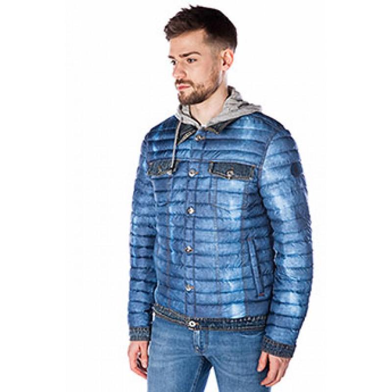 Куртка-ветровка ENRICO BELENO синяя стеганая 4733 HOODY OVERCOAT